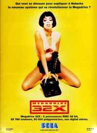 publicité pour console megadrive 32X avec fille sexy