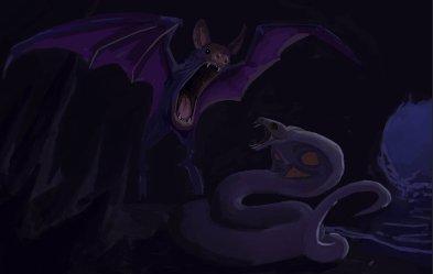 peinture réaliste des pokemon arbok et nosferalto par Simon Gangl