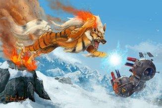 peinture réaliste des pokemon arcanin et magneton par Simon Gangl