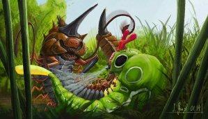 peinture réaliste des pokemon aspicot et chenipan par Simon Gangl
