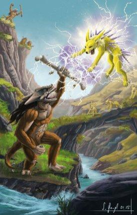 peinture réaliste des pokemon ossatueur et voltali par Simon Gangl