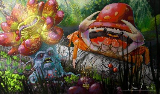 peinture réaliste des pokemon raflésia et parasect par Simon Gangl