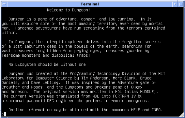 4.3 BSD from the University of Wisconsin, running Zork and displaying the introductory leaflet for 'Dungeon' (courtesy Wikipedia)