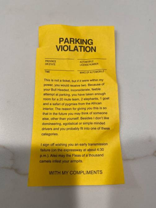 Rude note from park guest