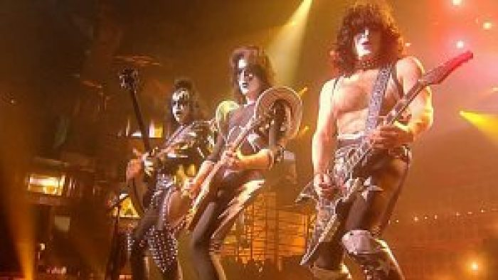 KISS became famous for its pyrotechnic displays and the band's intense makeup