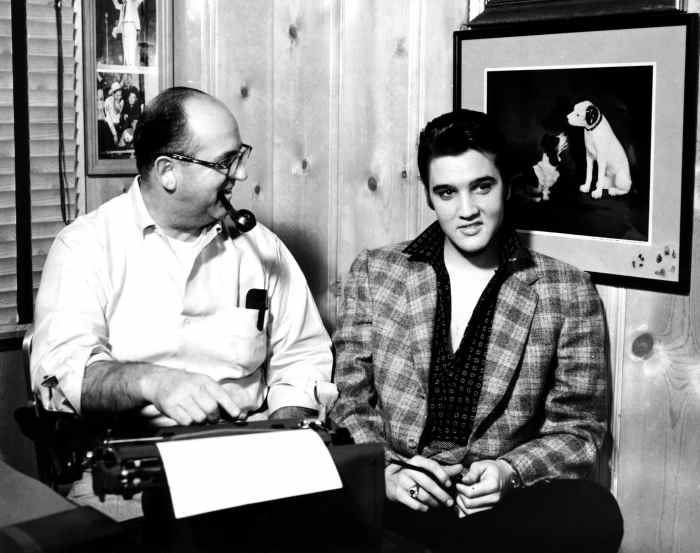 Elvis Presley, right, with his manager, 'Colonel' Tom Parker