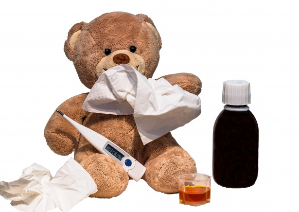 A teddy bear trying to avoid the flu!