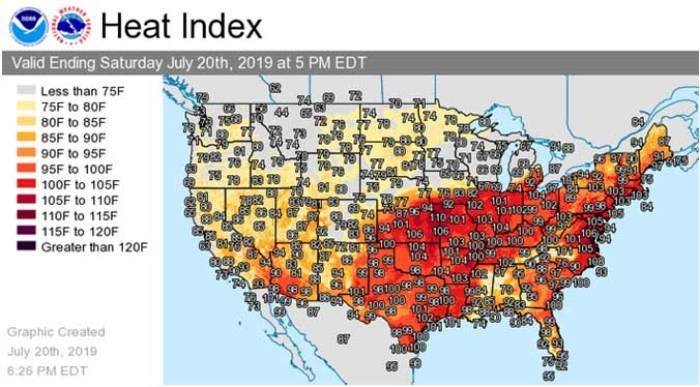 2019 heatwave chart for US