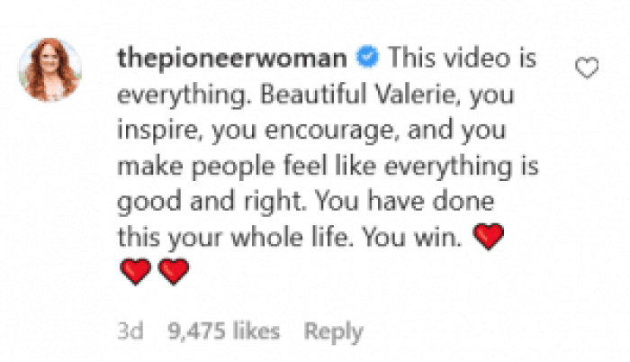 The Pioneer Woman herself Ree Drummond supported Valorie Bertinelli's stance against body shaming