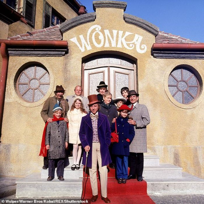 denise nickerson on the set of willy wonka