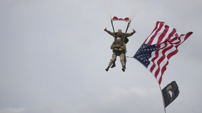 D-Day veteran Tom Rice parachutes into Normandy