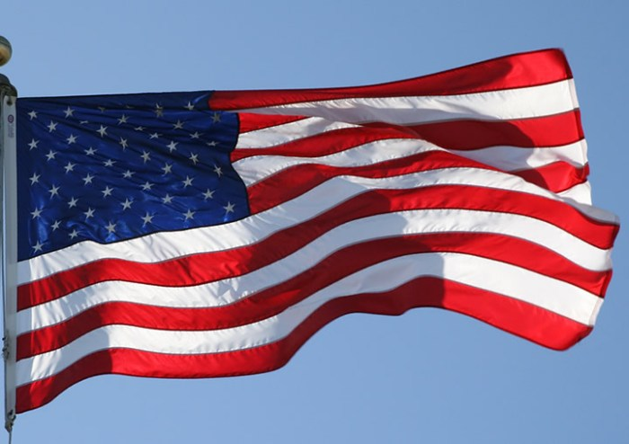 american flag flowing in the breeze