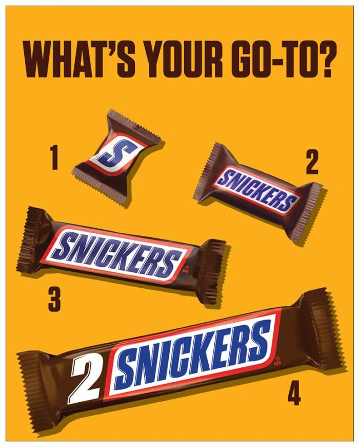 snickers sizes