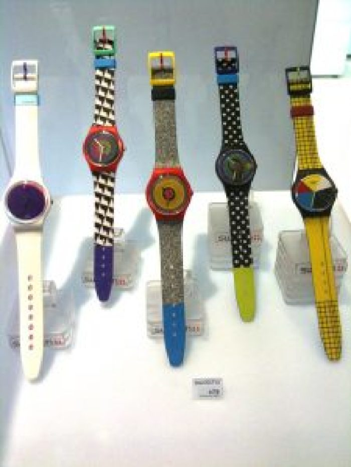 Some swatch watches looked simple and others had bold patterns