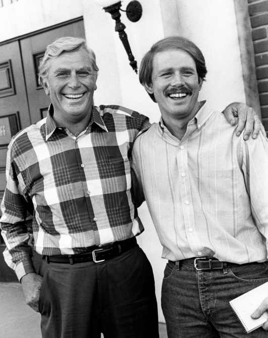 RETURN TO MAYBERRY, from left: Andy Griffith, Ron Howard, 1986