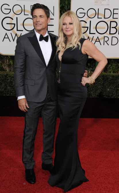 Rob Lowe and Sheryl Berkoff arriving at the 73rd Annual Golden Globe Awards