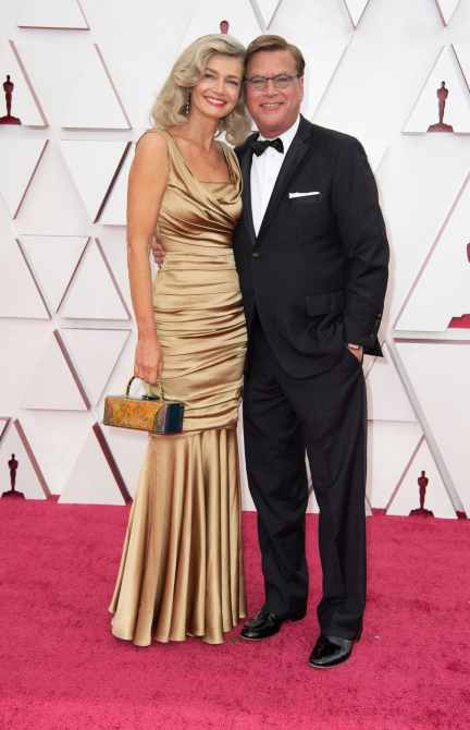 Oscar® nominee Aaron Sorkin (L) and Paulina Porizkova arrive on the red carpet of The 93rd Oscars® at Union Station in Los Angeles, CA on Sunday, April 25, 2021