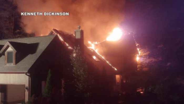 Flames could be seen from the roof of Rachael Ray's home