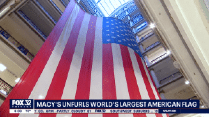 Located on State Street in Chicago, this Macy's boasts an American flag that towers several stories higher than any other