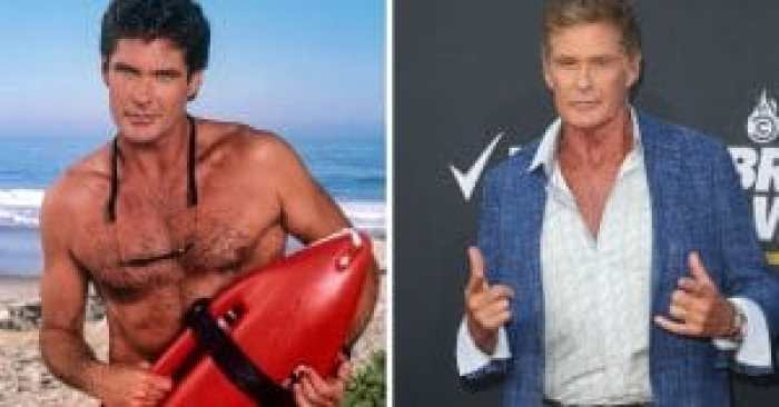 David Hasselhoff with the cast of Baywatch and today