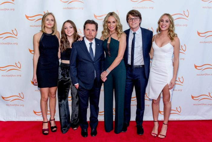 Michael J. Fox with his entire family on red carpet in 2017 for 'funny thing happened on the way to cure Parkinson's' event benefitting The Michael J. Fox Foundation at the Hilton New York