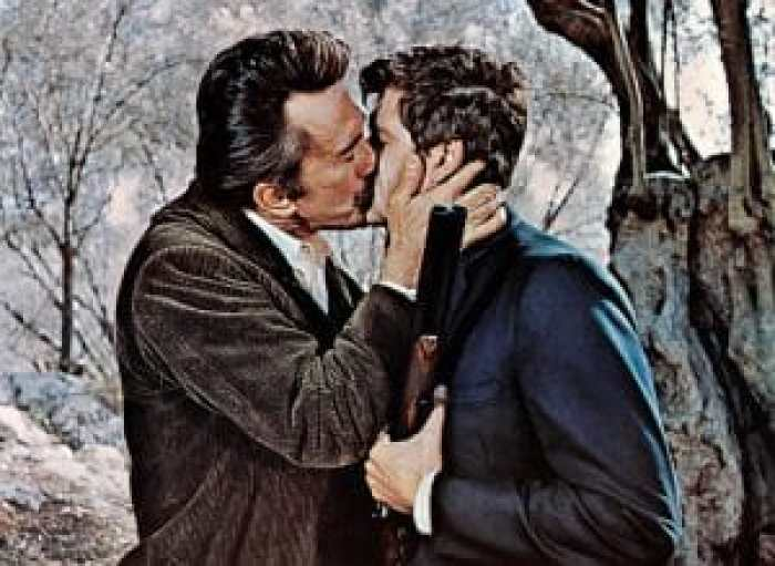The kiss of death between Alex Cord and Kirk Douglas
