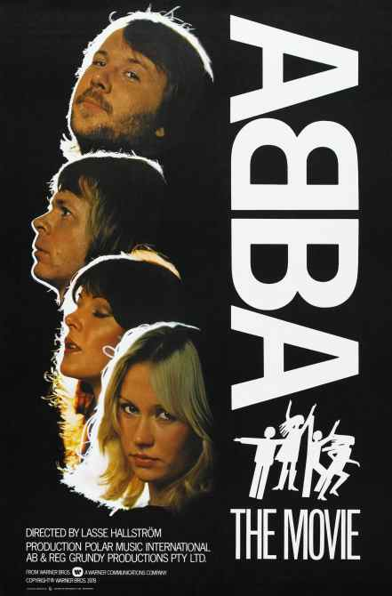 ABBA: THE MOVIE, US poster, from top to bottom: Benny Andersson, Bjorn Ulvaeus, Anni-Frid Lyngstad, Agnetha Faltskog, 1977