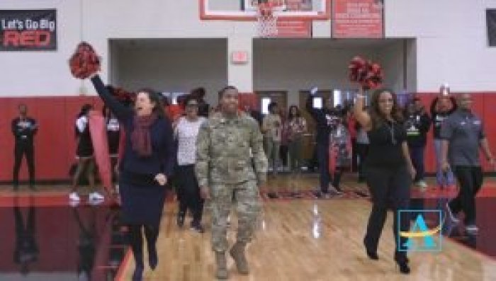 Aquil coordinated with the school to surprise his mother with an early homecoming during the pep rally