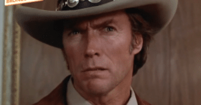 An early Clint Eastwood stare in Bronco Billy
