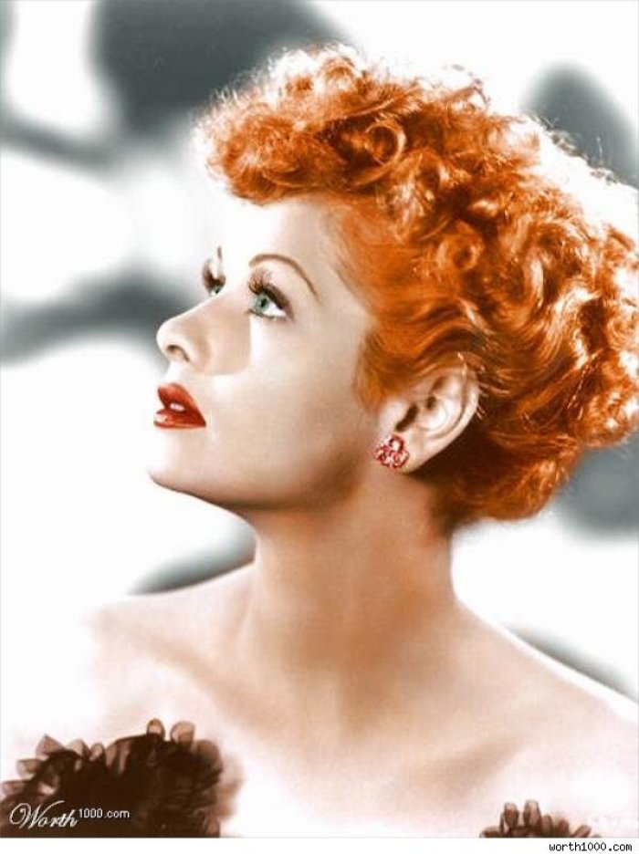 lucille ball with bright red hair
