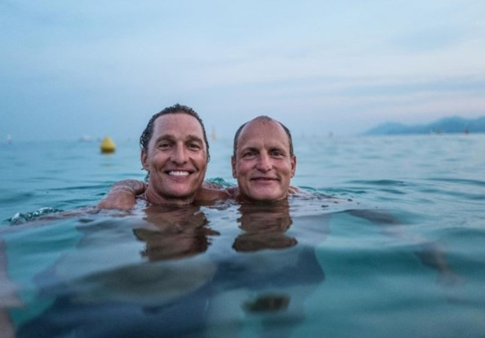 Matthew McConaughey Goes for a Swim with Woody Harrelson