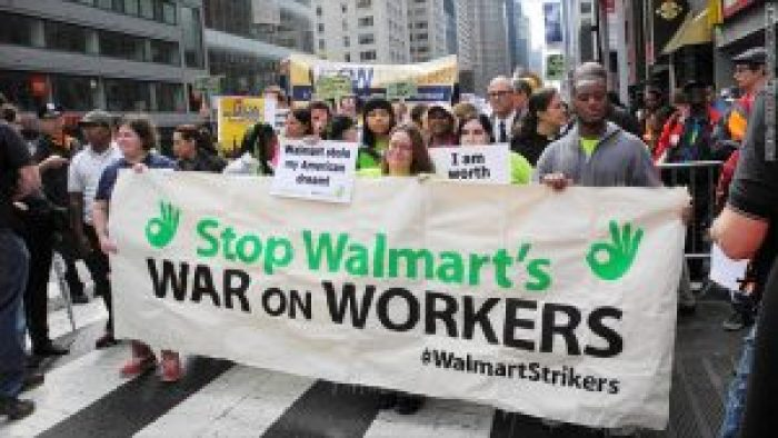 In 2014, workers protested Walmart's treatment of employees