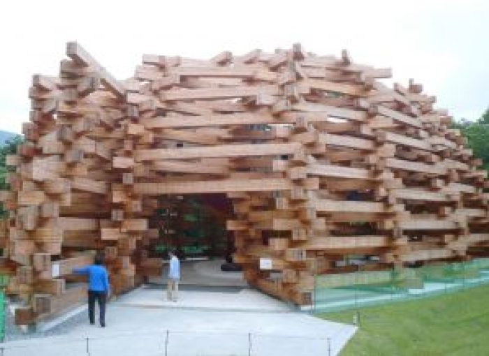 The Hakone Pavilion is like a giant Lincoln Logs playset
