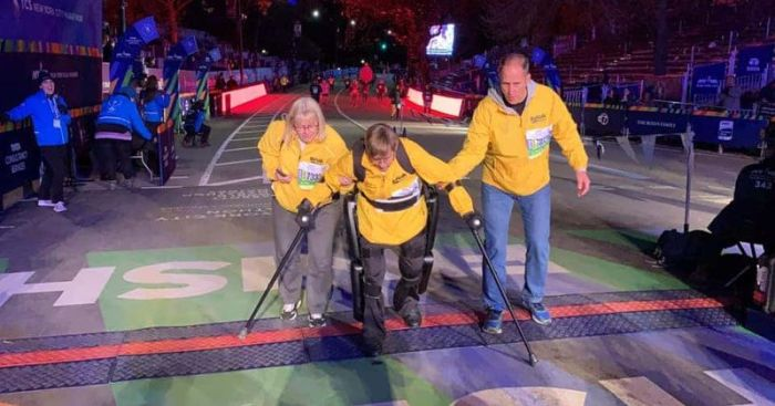 paralyzed veteran finishes marathon with exoskeleton