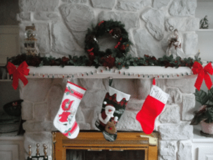 Christmas stockings hung for Santa to deliver some gifts