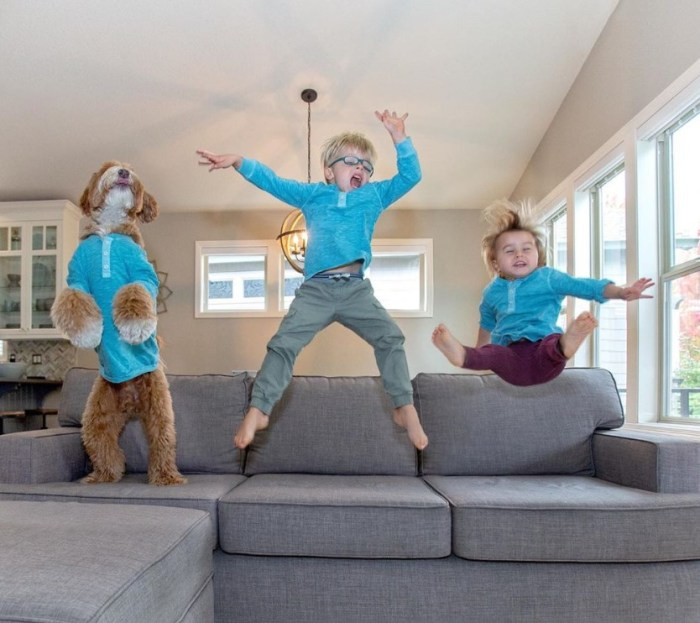 kids and dog jumping on the couch