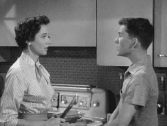 Billy Gray and Jane Wyatt in 'Father Knows Best'