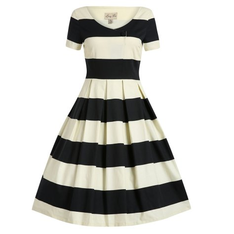 black cream stripe swing dress