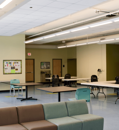 Tandem, the ceiling system installer, is credited with creating a dynamic project plan and construction timeline that minimized disruption to club programming.