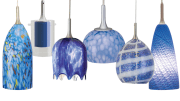 Nora Lighting pendants (left to right): Andromeda, Dual Effect, Waterfall, Sol, Rain Fall and Casie.