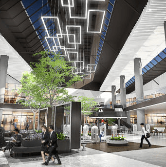 Thirty-six SunBeamers are currently being installed at the Westfield Santa Anita shopping center to distribute natural sunlight throughout the enclosed 3-story mall.