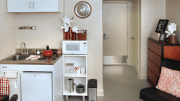 Each of the 104 studio units includes a kitchenette.