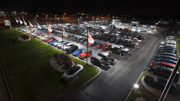 SMS Building Systems introduced an LED lighting solution for automotive and pre-owned vehicle companies designed to improve exterior lighting with clear white lights throughout the parking lot and property areas.