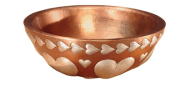 The solid copper bowl is hand-hammered by Thompson Traders craftsmen in Santa Clara del Cobre, Mexico, where generations of coppersmiths have used time-honored, metal-crafting techniques for centuries.