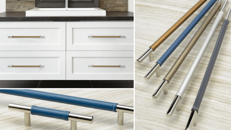 The Faux Leather Zanzibar Collection from Atlas Hardwares includes knob and pulls ranging from 5.25 inches to large appliance pulls.