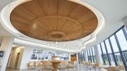 WoodWorks Torsion Spring, a new addition to the Armstrong family of Torsion Spring ceilings, offers a clean, monolithic visual in a concealed suspension system, downward accessibility to the plenum, and easy installation.
