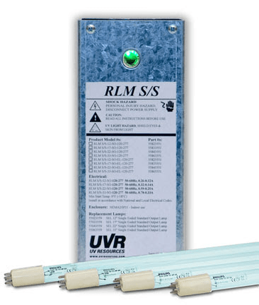 The Remote Lamp Mount (RLM) Small Systems (S/S) ultraviolet (UV-C) lamp fixture kit from UV Resources.