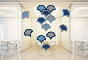 Zintra on Zintra Tiles provide an interior designer with creative options for both wall décor and sound abatement.