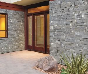 Each STONEfaçade panel has a continuous fastening flange for screw-in-place attachment so no mortar is required.