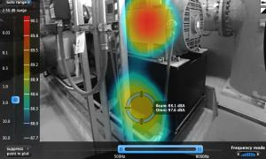 Acoustical Real-Time Video Imaging System (ARTVIS) identifies excessive noise from two industrial chiller pumps.